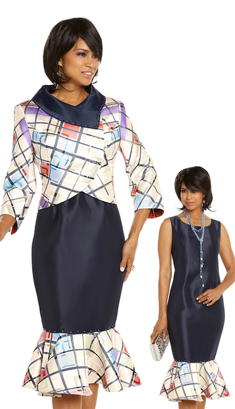 Donna Vinci 5614 ( 2pc Exclusive Novelty With Silk  Womens Jacket Dress Set, Trimmed With Navy And Silver Rhinestones )