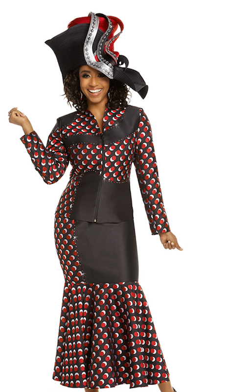 Donna Vinci 5616 ( 2pc Womens Exclusive Novelty Church Suit With Red And Silver Rhinestones )