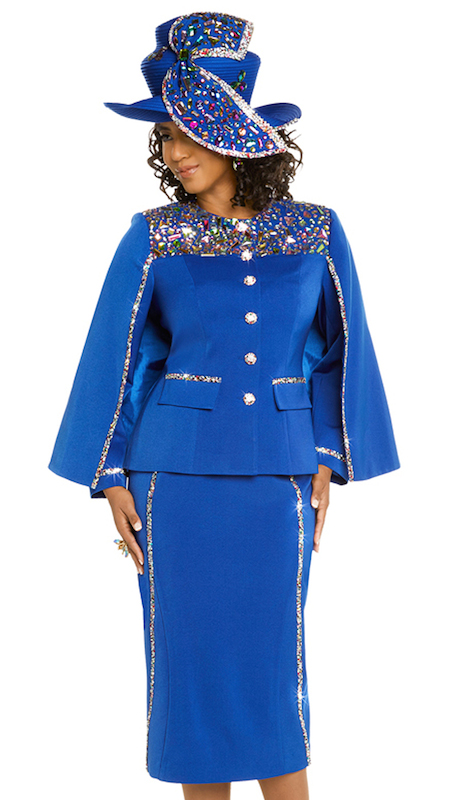 Donna Vinci 11673-IH ( 2pc Ladies Exclusive PeachSkin Church Suit Elaborate Multi Colored Rhinestone Pattern And Buttons )