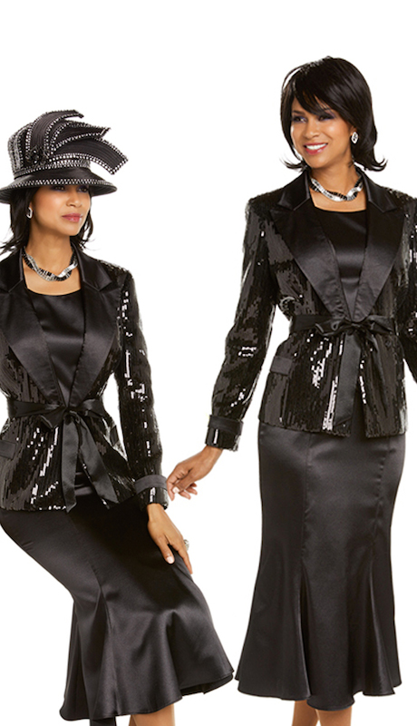 Donna Vinci 11675 ( 3pc First Ladies Exclusive Novelty Church Suit Combined With Satin Trim )