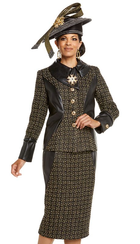 Donna Vinci 5599 ( 2pc Exclusive Boucle Ladies Church Suit, Trimmed With Leather, Beautiful Detachable Broach And Rhinestone Buttons )