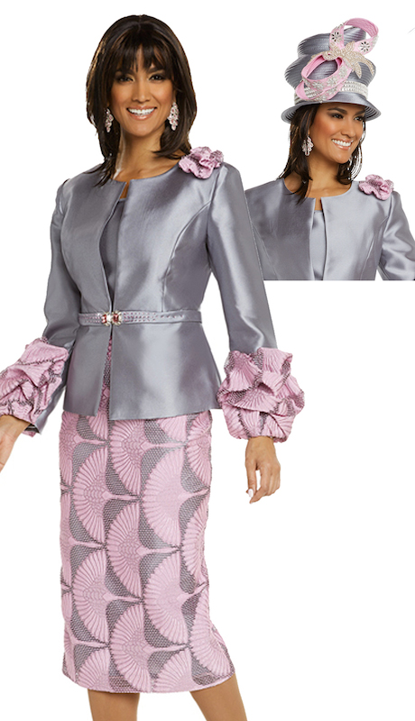 Donna Vinci 11697 ( 3pc Silk Womens Church Suit Designed With Exclusive Novelty Fabric With Pink Rhinestones On Jacket And Buckle )