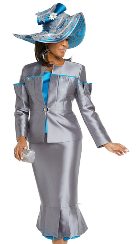 Donna Vinci 11699 ( 3pc Silk Church Suit Trimmed With Turquoise Rhinestones And Buckle )