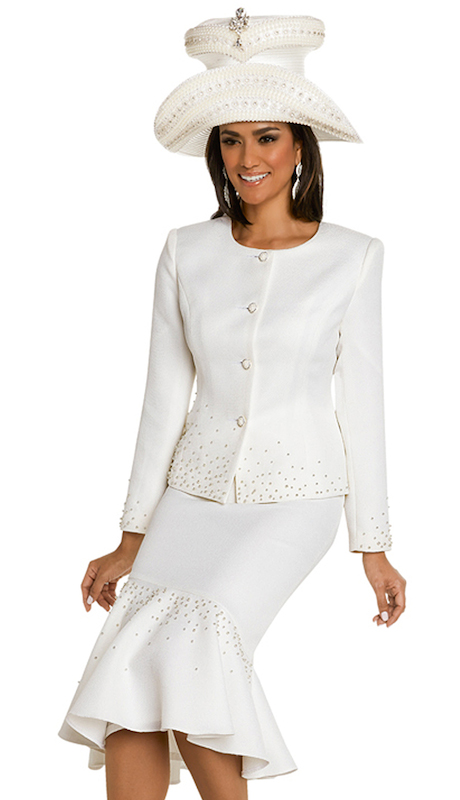 Donna Vinci 11700 ( 2pc Ladies Exclusive Novelty Church Suit With Pearls And Rhinestone Buttons )