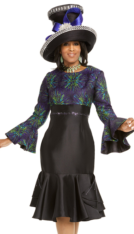 Donna Vinci 11701 ( 1pc Exclusive Novelty And Silk Womens Church Dress Trimmed With Purple Rhinestones )
