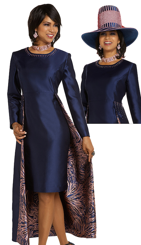 Donna Vinci 11702-IH ( 1pc Womens Silk Sunday Dress Trimmed With Pink And Navy Rhinestones Lined With A Beautiful Brocade Fabric )