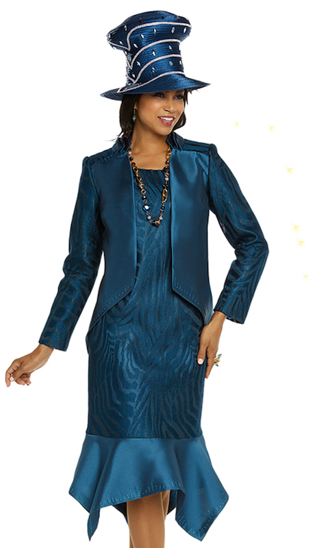 Donna Vinci 11704 ( 2pc Womens Exclusive Novelty And Silk Dress And Jacket Set For Church Trimmed With Teal Colored Rhinestones On Jacket And Dress )