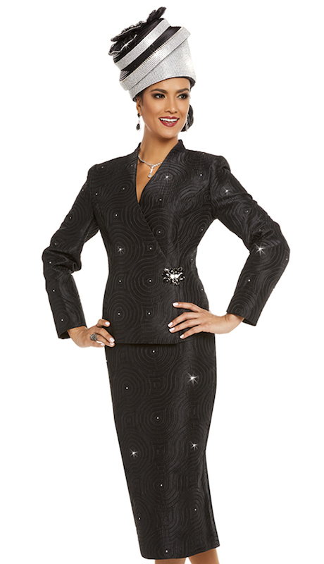 Donna Vinci 11706 ( 2pc Exclusive Novelty Church Suit  With Fancy Trims And Large Rhinestone Buckle )