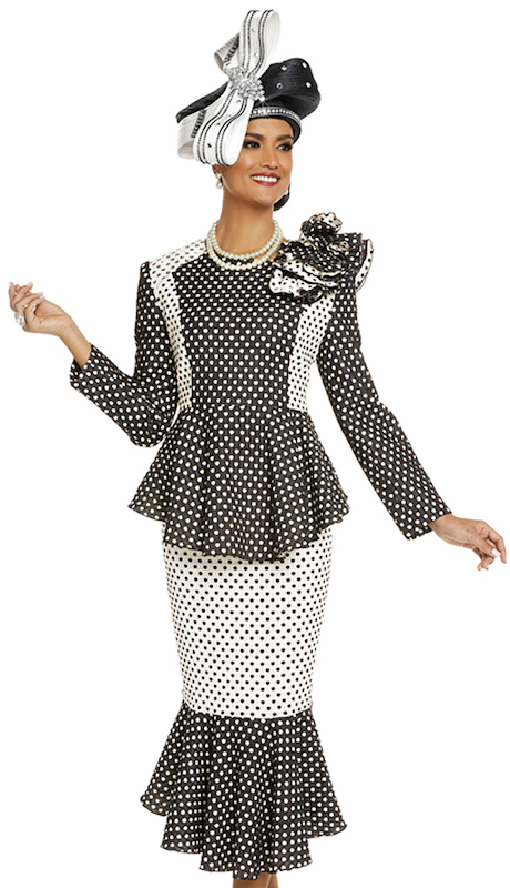 Donna Vinci 11708 ( 2pc Novelty Jacket And Skirt Suit For Sunday Trimmed With Rhinestones )
