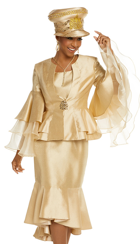 Donna Vinci 11710 ( 3pc Gold Novelty Jacket With Cami And Skirt Suit For Church Designed With Organza Sleeves And A Large Rhinestone Buckle )