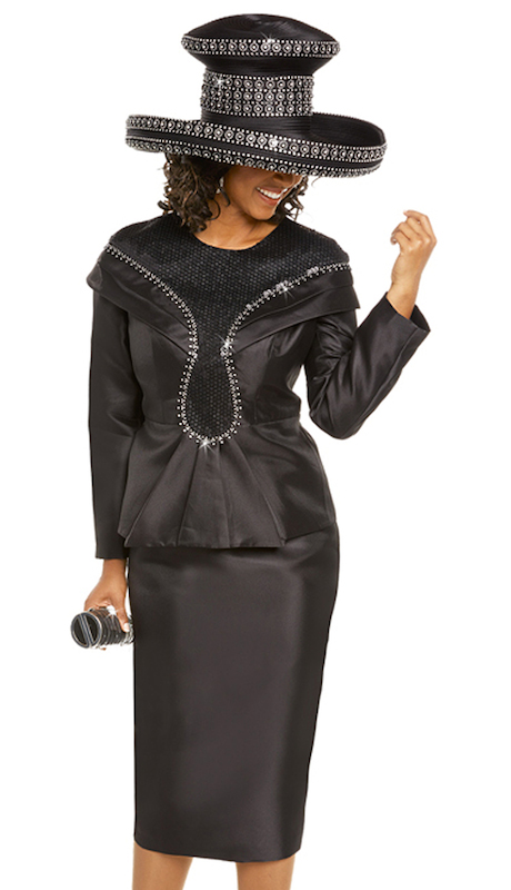 Donna Vinci 11713 ( 2pc Silk Womens Jacket And Skirt Suit For Church Trimmed With Novelty Fabric And Rhinestones )