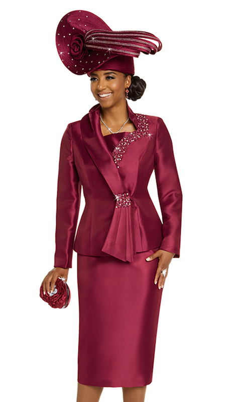 Donna Vinci 11714 ( 2pc Silk Jacket And Skirt Suit Trimmed With Small Satin Flowers, Pearls, Beads, And Rhinestones )