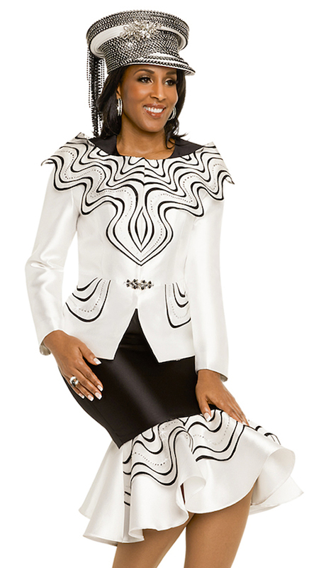 Donna Vinci 11717 ( 2pc First Ladies Silk Jacket And Skirt Suit Embroidered In Black With Rhinestone Trims And Buckle )