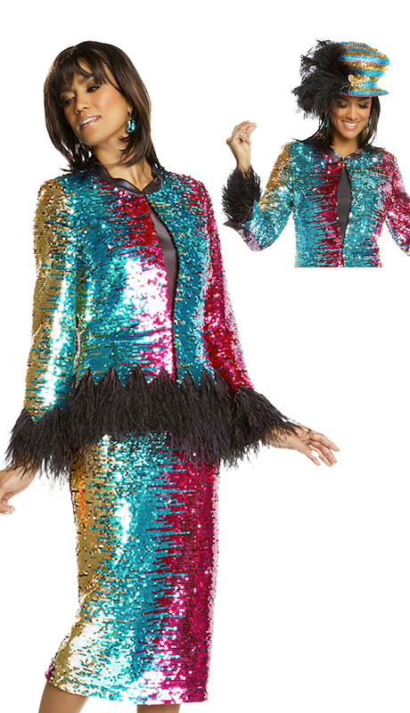 Donna Vinci 11719 ( 3pc Womens Exclusive Multi Colored Church Suit Covered In Sequins Trim And Ostrich Feathers )