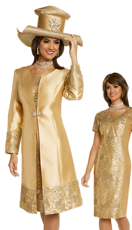 Donna Vinci 11720 ( 2pc Silk Dress And Jacket Set For Church Trimmed With Embroidered Gold Novelty Lace And An Elaborate Buckle )