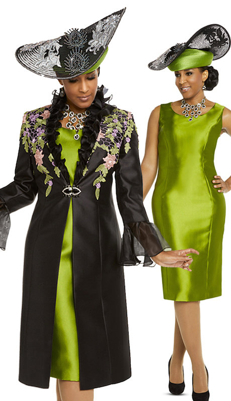 Donna Vinci 11721 ( 2pc Silk Ladies Church Dress And Jacket With Multi Colored Guipure Lace With Small Rhinestones On Them, Organza Cuffs And A Beautiful Rhinestone Buckle )