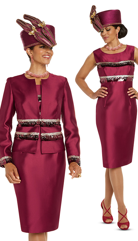 Donna Vinci 11722 ( 2pc Ladies Sik Dress And Jacket Set Trimmed With Burgundy And Gold Sequins )