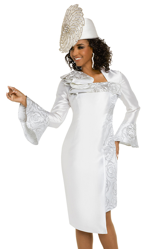 Donna Vinci 11723 ( 1pc Silk Ladies Church Dress Combined With Novelty Silver Brocade )