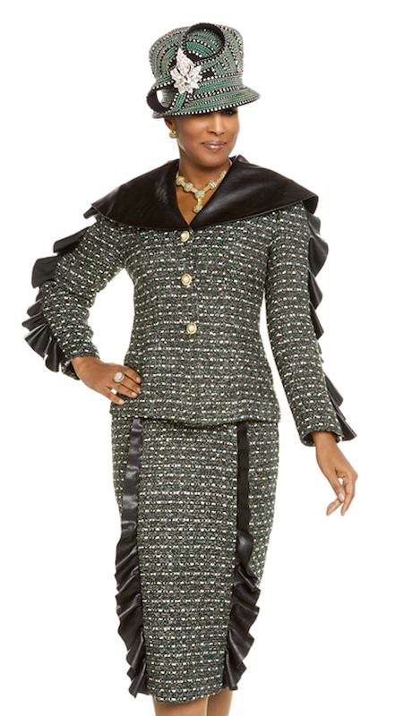 Donna Vinci 5603  ( 2pc Exclusive Boucle Womens Jacket And Skirt Suit For Church Trimmed With Black Leather And Rhinestone With Pearl Buttons )