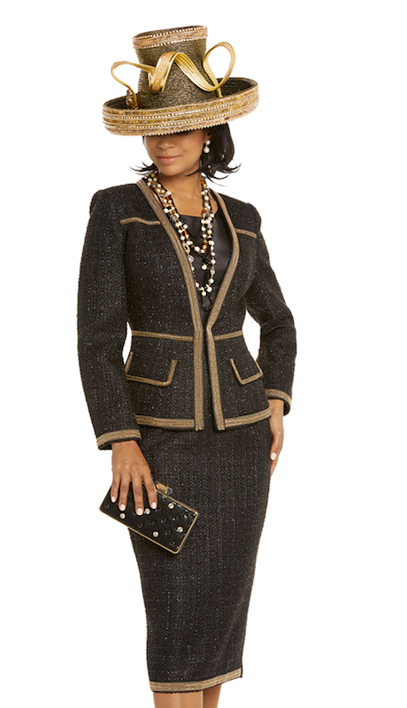 Donna Vinci 5604 ( 3pc Womens Exclusive Boucle Jacket With Cami And Skirt Suit Trimmed With Small Gold Chain And Beads )