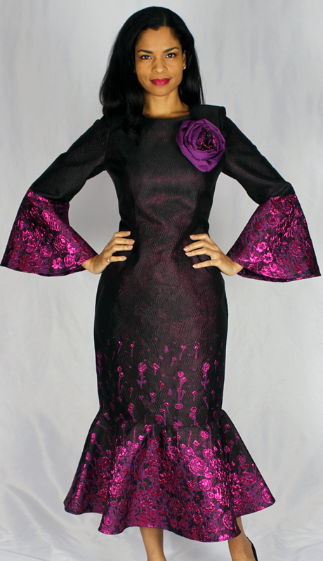 Diana Couture 8530-MU ( 1pc Novelty Dress With Bell Sleeves And Brooch )