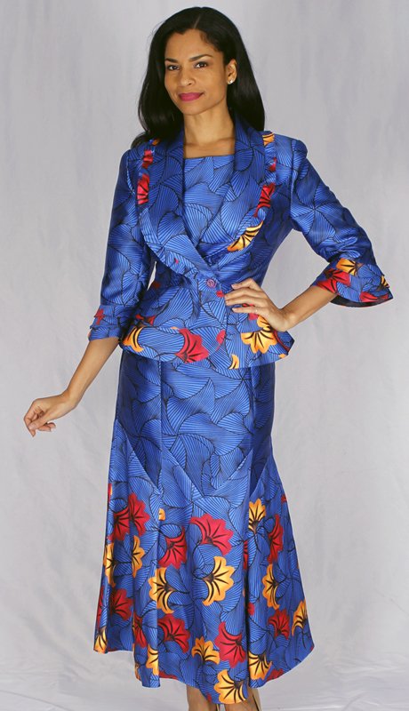 Diana Couture 8534-RO ( 2pc Full Length Print Dress With Peplum Jacket )