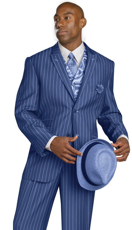 Mens Suits By EJ Samuel M2708-COB ( 3 Piece, Pin Stripe, Single Breasted, 2 Button, Peak Lapel, 3 Flap Pocket, Side Vents, Spiral Tapestry Print Vest, Super 150s )