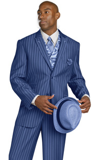 Mens Suits By EJ Samuel M2708-COB ( 3 Piece, Pin Stripe, Single Breasted, 2 Button, Peak Lapel, 3 Flap Pocket, Side Vents, Spiral Tapestry Print Vest, Super 150s )