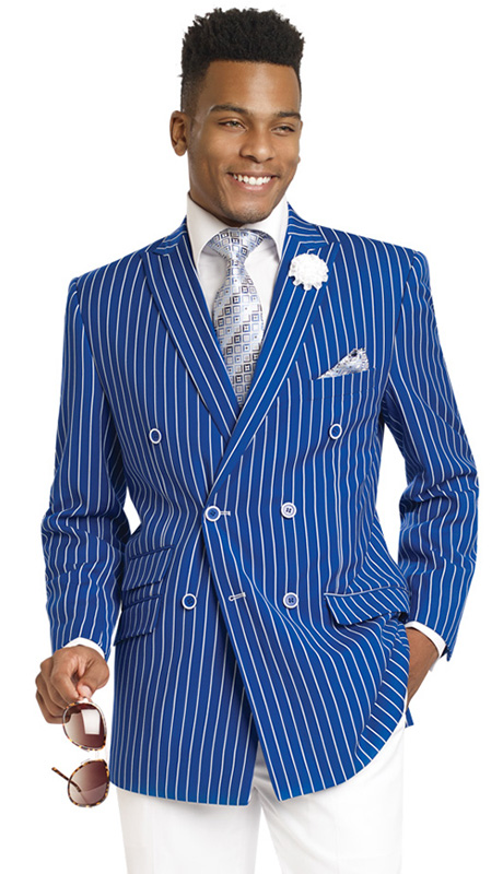 Mens Suits By EJ Samuel M2707-ROY ( 2 Piece Stripe Summer Style, Double Breasted, Side Vents, 3 Flap Pocket, White Pleated Pant, Super 150s )