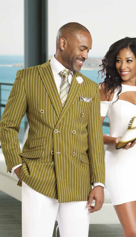 Mens Suits By EJ Samuel M2707-OL ( 2 Piece Stripe Summer Style, Double Breasted, Side Vents, 3 Flap Pocket, White Pleated Pant, Super 150s )