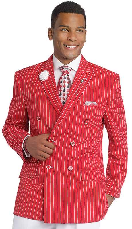 Mens Suits By EJ Samuel  M2707-RE ( 2 Piece Stripe Summer Style, Double Breasted, Side Vents, 3 Flap Pocket, White Pleated Pant, Super 150s )