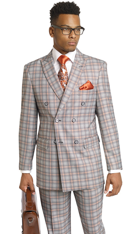 Mens Suits By EJ Samuel M2704-BLK ( 2 Piece, Vintage Plaid Style, Double Breasted, Flap Pockets,Side Vents, Lapel Buttonhole Stitch, Super 150s )