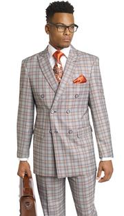 Mens Suits By EJ Samuel M2704-BLK ( 2 Piece, Vintage Plaid Style, Double Breasted, Flap Pockets,Side Vents, Lapel Buttonhole Stitch, Super 150s )