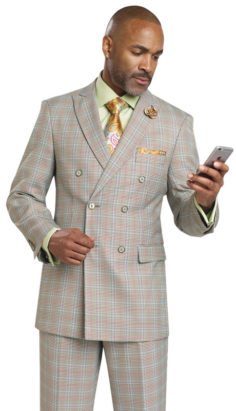 Mens Suits By EJ Samuel M2704-OL ( 2 Piece, Vintage Plaid Style, Double Breasted, Flap Pockets,Side Vents, Lapel Buttonhole Stitch, Super 150s )
