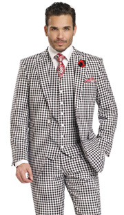 Mens Suits By EJ Samuel M2703-BLK ( 3 Piece Checked Pattern,  1 Button Jacket With 3 Flap Pockets, 6 Button Vest, Matching Pleated Pant, Super 150s )