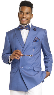 Mens Suits By EJ Samuel M2702-ROY ( 2 Piece Summer Style Nailhead Pattern, Double Breasted, 3 Flap Pocket, White Pleated Pant, Super 150s )