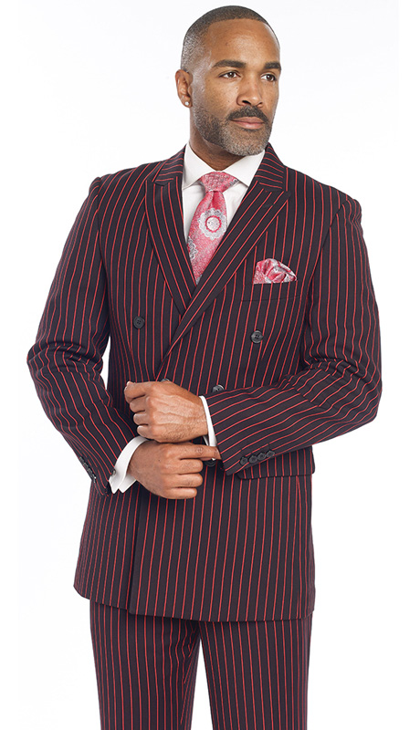 Mens Suits By EJ Samuel M2701-RE ( 2 Piece Red Bold Stripe, Double Breasted, Side Vents, Matching Pleated Pant )