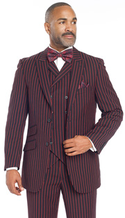 Mens Suits By EJ Samuel M2700-RE ( 3 Piece Bold Red Stripe, 2 Button Single Breasted Jacket, 3 Flap Pocket, Side Vents, Double Breasted Vest, Matching Pleated Pant )
