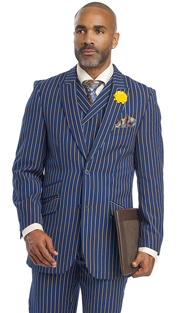 Mens Suits By EJ Samuel M2700-BLU ( 3 Piece Bold Stripe, 2 Button Single Breasted Jacket, 3 Flap Pocket, Side Vents, Double Breasted Vest, Matching Pleated Pants )