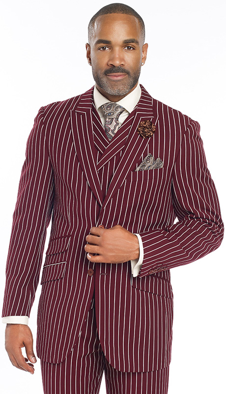 Mens Suits By EJ Samuel M2700-WI ( 3 Piece Bold Stripe, 2 Button Single Breasted Jacket, 3 Flap Pocket, Side Vents, Double Breasted Vest, Matching Pleated Pants )
