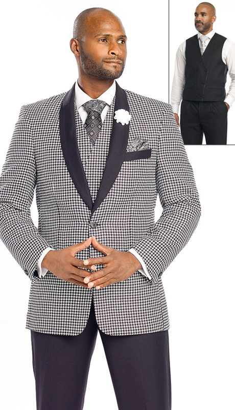 Mens Suits By EJ Samuel M2699-BW ( 3 Piece Houndstooth, Solid Shawl Lapel, 1 Button Jacket, Double Breasted Reversible Vest With Other Side Solid Black, Super 150s )