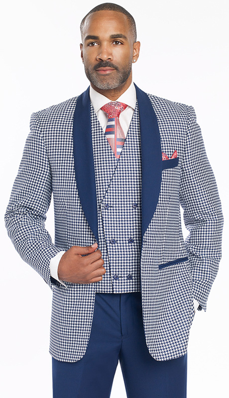 Mens Suits By EJ Samuel M2699-NA ( 3 Piece Houndstooth, Solid Shawl Lapel, 1 Button Jacket, Double Breasted Reversible Vest With Other Side Solid Navy, Super 150s )
