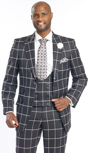 Mens Suits By EJ Samuel M2698-BLK ( 3 Piece Window Pane Plaid, 2 Button Jacket, Scoop Double Breasted Vest, Matching Pant, Super Fine Wool Blend )