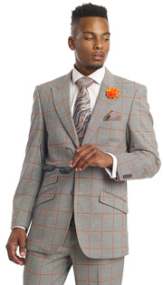 Mens Suits By EJ Samuel M2698-GRA ( 3 Piece Window Pane Plaid, 2 Button Jacket, Scoop Double Breasted Vest, Matching Pant, Super Fine Wool Blend )