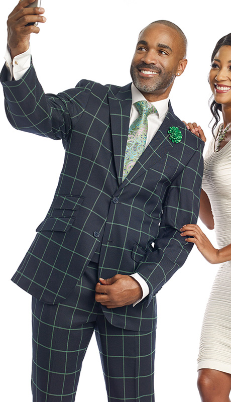 Mens Suits By EJ Samuel M2698-NA ( 3 Piece Window Pane Plaid, 2 Button Jacket, Scoop Double Breasted Vest, Matching Pant, Super Fine Wool Blend )