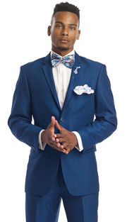 Mens Suits By EJ Samuel M2696-BLU ( 2 Piece Fine Pin Stripe, 2 Button, Single Pleated Pant, Wool Touch )