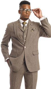 Mens Suits By EJ Samuel M2693-TA ( 3 Piece Tweed, 1 Button, 2 Flap Pockets With Notch lapel, Matching Pant, Super Fine Wool Blend )