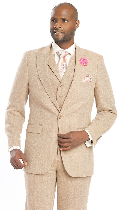 Mens Suits By EJ Samuel M2693-RU ( 3 Piece Tweed, 1 Button, 2 Flap Pockets With Notch Lapel, Matching Pant, Super Fine Wool Blend )