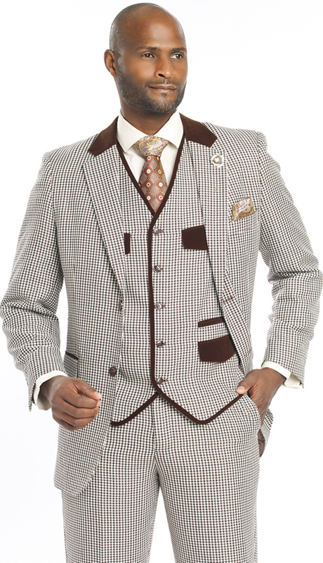 Mens Suits By EJ Samuel M2692-BWN ( 3 Piece Houndstooth, Single Breasted, 5 Button Jacket With Notch Lapel, 5 Button Vest, Velvet Trim On Collar And Pockets, Pleated Pant, Super 150s )