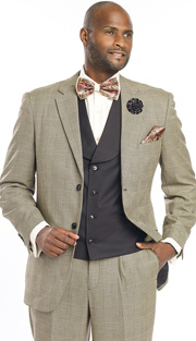 Mens Suits By EJ Samuel M2691-BLK ( 3 Piece 1920s Vintage Style, Glen Plaid Pattern, 2 Button Jacket With Side Vents, Solid Color Vest With Wide Shawl Lapel, Matching Pant )